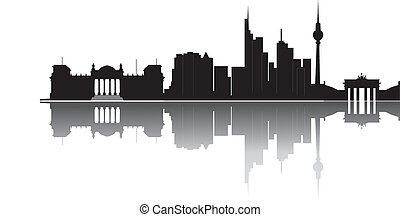 Berlin skyline with tower and brandenburger tor