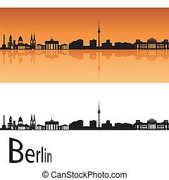Berlin skyline in orange background in editable vector file