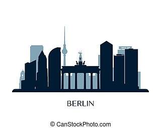 Berlin skyline, monochrome silhouette.