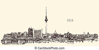 Berlin Skyline Silhouette Engrave Vector Hand Draw - Berlin...