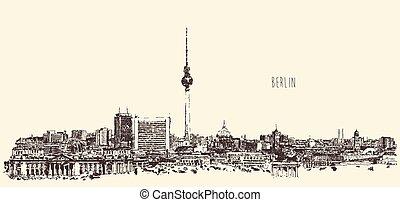 Berlin Skyline Silhouette Engrave Vector Hand Draw