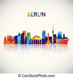 Berlin skyline silhouette in colorful geometric style.