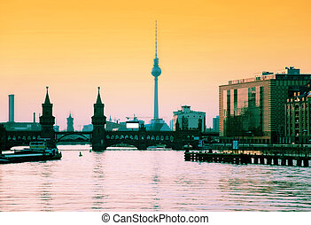 berlin skyline - berlin oberbaumbrucke with tv tower at...