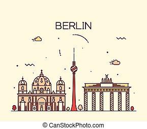 Berlin skyline trendy vector illustration linear - Berlin...