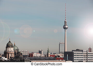 berlin skyline tv tower , berlin ge
