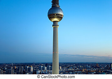 berlin skyline tv tower - television tower and skylin of...