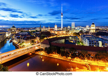 Berlin skyline tv tower townhall at night Germany city