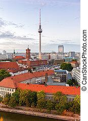 Berlin skyline tv tower townhall Germany portrait format city