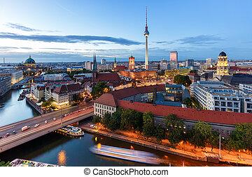 Berlin skyline tv tower townhall landmark twilight Germany city