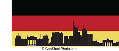 Berlin skyline with flag