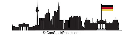 Berlin skyline with flag - Berlin skyline with tower and...