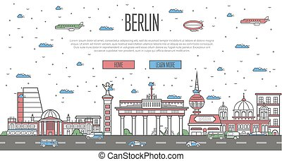 Berlin skyline with national famous landmarks in trendy...