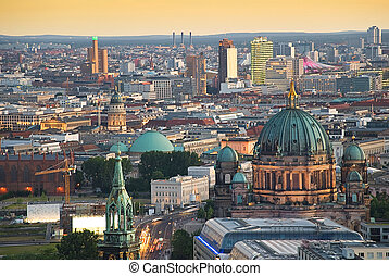 berlin skyline with potsdamer platz and dome