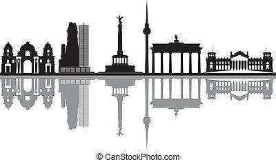 berlin skyline with reichstag and brandenburger tor - berlin...