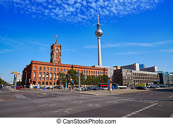 Berlin Spandauer street with Rotes Rathaus and Berlinen...
