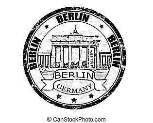 Berlin stamp - Black grunge rubber stamp with Brandenburg...