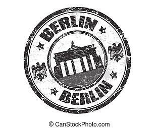 Grunge rubber stamp with the name of the capital of Germany, Berlin - written inside the stamp