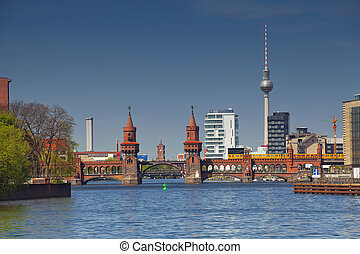 Berlin. - Image of Berlin skyline with tv tower and Oberbaum...
