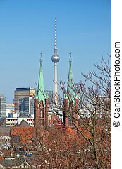 Berlin television tower and church