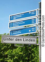 Berlin, touristic road sign - Unter den Linden, Berlin, ...