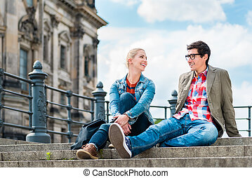 Berlin tourists enjoying view from bridge at the Museum Island
