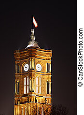 Berlin Town Hall At Night - Tower of the red town hall in...