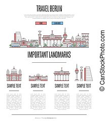Berlin travel infographics in linear style - Berlin travel...