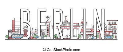 Berlin travel lettering in linear style - Berlin travel...