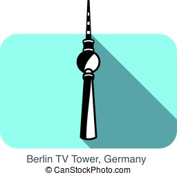 Berlin TV Tower, landmark flat icon design