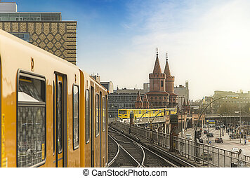 Berlin Ubahn Trains at Oberbaumbridge - Panoramic view of...