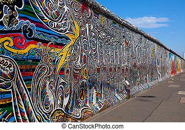 berlin vägg, berlin, germany., den, störst, utomhus,...