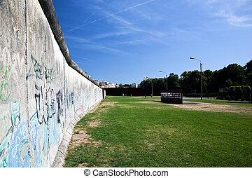 berlin vägg, minnesmärke, med, graffiti.