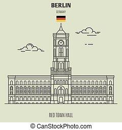 berlin, ville, germany., repère, salle, icône, rouges