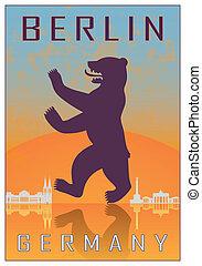 Berlin vintage poster in orange and blue textured background...