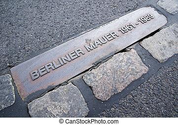 Berlin Wall (Berliner Mauer) - Berliner Mauer sign in place...