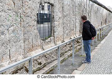 BERLIN, GERMANY - APRIL 7: Berlin wall in museum Topography of Terror, on April 7, 2017 in Berlin