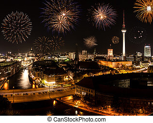 berlin with fireworks