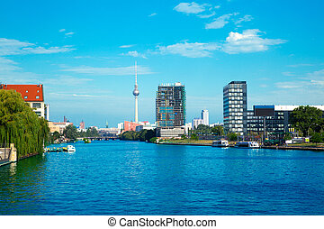 berlin with river spree and oberbaumbruecke (oberbaum bridge)