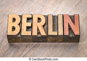 Berlin word abstract in wood type