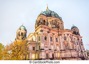 Berliner Dom. Berlin city cathedral at night