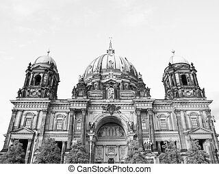 Berliner Dom cathedral church in Berlin Germany in black and...