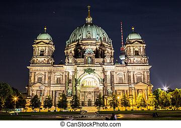 Berliner Dom in Berlin at summer nigth