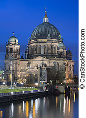 Berliner Dom - twilight cityscape with famous Berliner Dom...