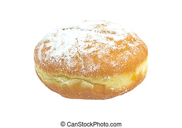 Berliner donut powdered with sugar isolated on white