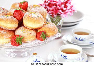 Berliner - doughnut filled with strawberry jam - Doughnut...