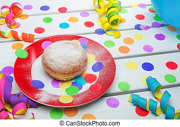 Berliner pancake with konfetti and steamers - Berliner...