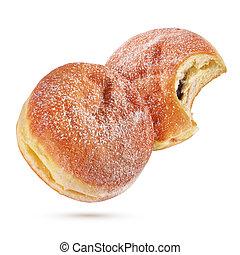 Berliner pfannkuchen or donut isolated on white background...