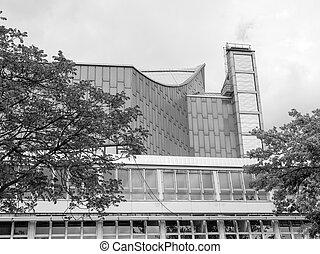 The Berliner Philarmonie concert hall in Berlin Germany in black and white