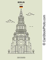 berlino, chiesa, germany., punto di riferimento, icona, zion's