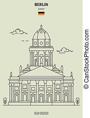 berlino, chiesa, nuovo, germany., punto di riferimento, icona